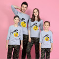 Cotton Smile Pattern Long Sleeve T-Shirt Tops Tee Boys Girls Kids Mother And Daughter Father Son Family Matching Clothes JW1081