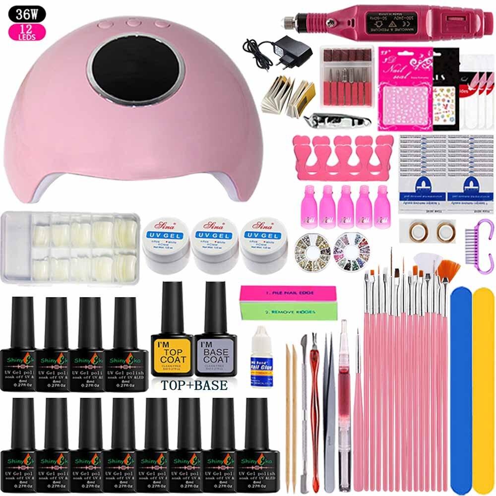 12 Color Nail Polish Varnish Extension Kit With 36w/48w  Led Uv Nail Lamp Kit For Manicure Set Acrylic Nails Art Tools