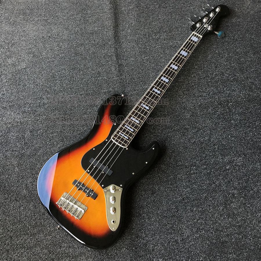 Guitarras de Bajo Jass 5 cuerdas de palisandro de dedos Sunburst China guitarras de Bajo eléctricas personalizadas en stock