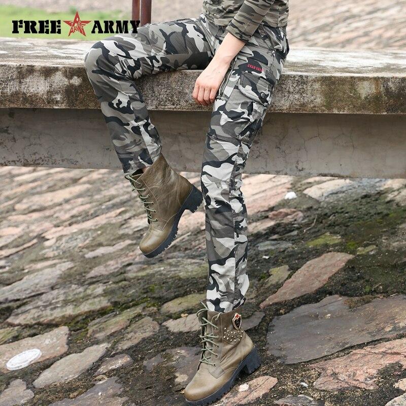 Dámské kamuflážní kalhoty Dámské kamuflážní kalhoty Vojenské ženy Armádní móda Pro volný čas Volné kapsy Kalhoty Dámské kalhoty