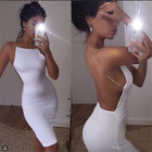 Save 6.78 on 2017 sexy dress 2 color solid black white summer dresses slash neck sequin chain knee length bodycon backless dress