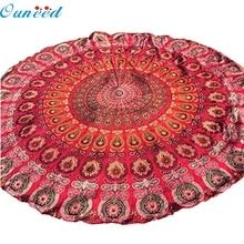 Ouneed  hot selling beautiful printing Toilette Bohemian Hippie Tapestry Beach Throw Roundie Mandala Towel Yoga Mat Jul13