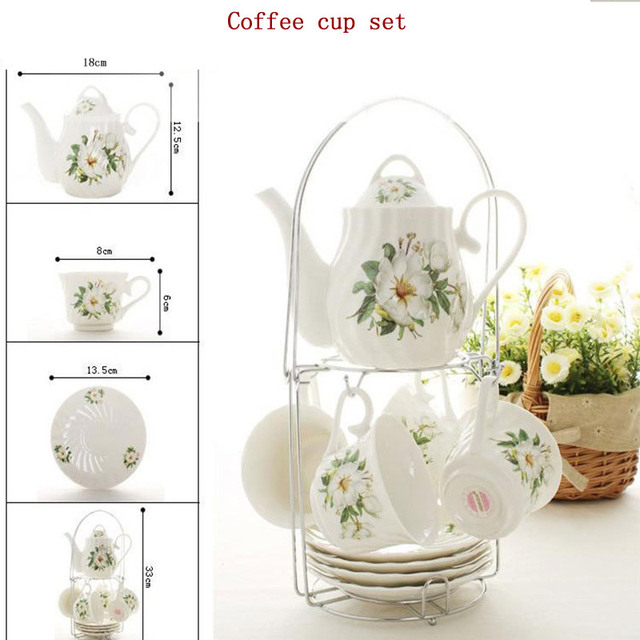 English Classic Ceramic Coffee Cup Tea Teapot Set Afternoon Tableware Double Iron Rack Christmas Gift 9 Pcs