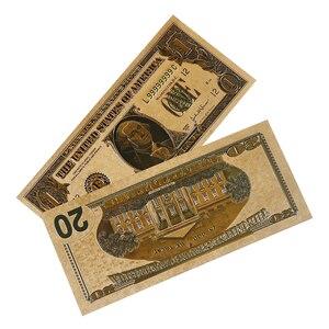 Лидер продаж, 8 шт./лот, 8 банкнот разного дизайна с золотым покрытием для долларов США, американские бумажные деньги для коллекционирования банкнот