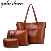 YABEISHINI Luxury Handbags Three piece Women Bags Designer Leather Large capacity Solid Color Lady Handbags Female Shoulder Bag
