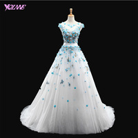 YQLNNE Sweet Ivory Flowers Wedding Dresses Beading Bridal Gown Lace Tulle Lace up Sweep Train Real Photos