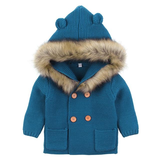 Baby Boys Girls Knit Cardigan Winter Warm Newborn Infant Sweaters Fashion Long Sleeve Hooded Coat Jacket Kids Clothing Outfits 5