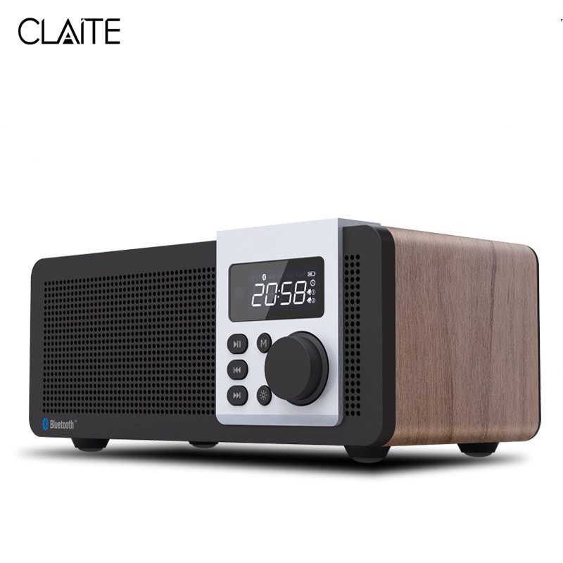 CLAITE D26 Remote Bluetooth4.1 Speaker Digital Alarm Clock Speaker 2500mah Stereo Radio FM MP3 Smart Speaker Handfree with Mic tocky runaway alarm clock with mp3 black