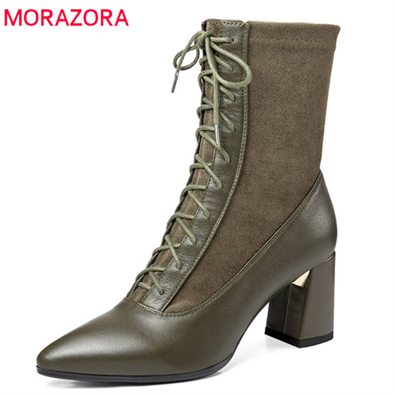 MORAZORA 2018 new arrival ankle boots women pointed toe genuine leather boots lace up high heels autumn boots ladies shoes new arrival genuine leather high quality large size pointed toe high heels fashion winter shoes lace up concise ankle boots l0f4
