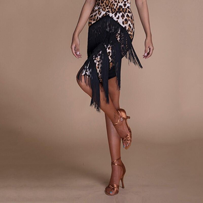 Fashion Women Latin Dance Skirt Leopard Print Fringe Skirts For Btango Cha Cha Samba Rumba Ballroom