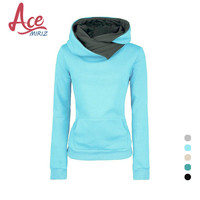 2016 New Fashion Lapel Hooded Women Sweater Pullovers Turn Down Collar WC0069
