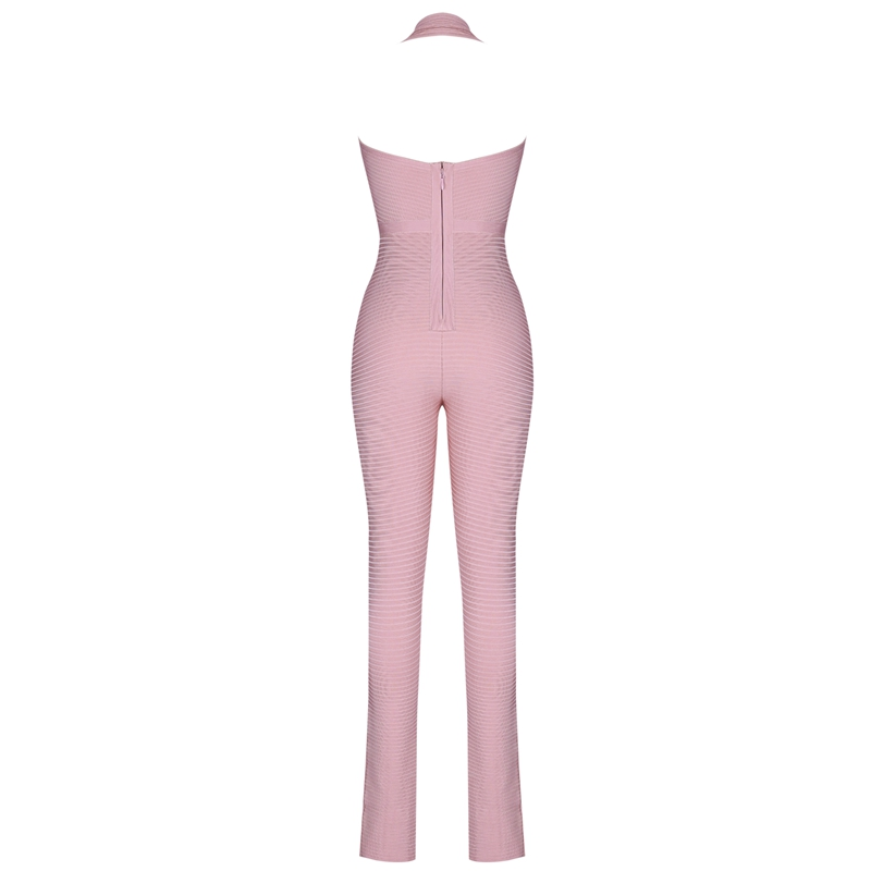 Ocstrade Bandage Jumpsuit 2019 New Arrive Nude Ribbed Rayon Bandage Jumpsuit Sexy Club Bodycon Jumpsuit Bandage Woman-in Jumpsuits from Women's Clothing    3