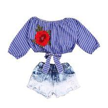 Детские комплекты одежды для маленьких девочек; укороченные топы; рубашки; блузка; джинсовые шорты в полоску с цветочным принтом; комплект одежды; Одежда для девочек