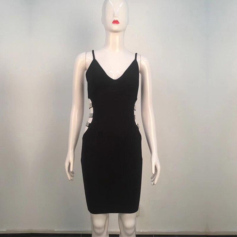 Clubwear Robe Courroie Gros Soirée Évider De Partie Bandage Mode Noir Spaghetti Nouvelle Été Sexy En Robes 2018 Perles qaPOw0E0FU