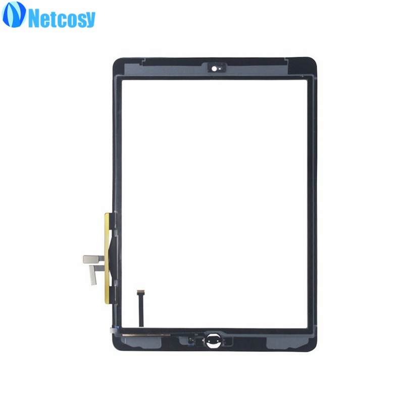 Netcosy For ipad 5 Touchscreen Black / White Touch Glass Screen Digitizer Home Button Assembly replecement parts For ipad Air netcosy for ipad air touchscreen high quality black