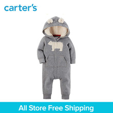 1pcs 3D animal ears Hooded heather Fleece Jumpsuit Carter s baby boy fall winter clothing 118H621