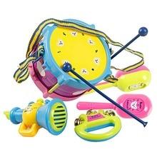 5Pcs/set Musical Instruments Playing Set Colorful Drum/Handbell /Trumpet/Sand Hammer/Drum Sticks Educate Music Toys