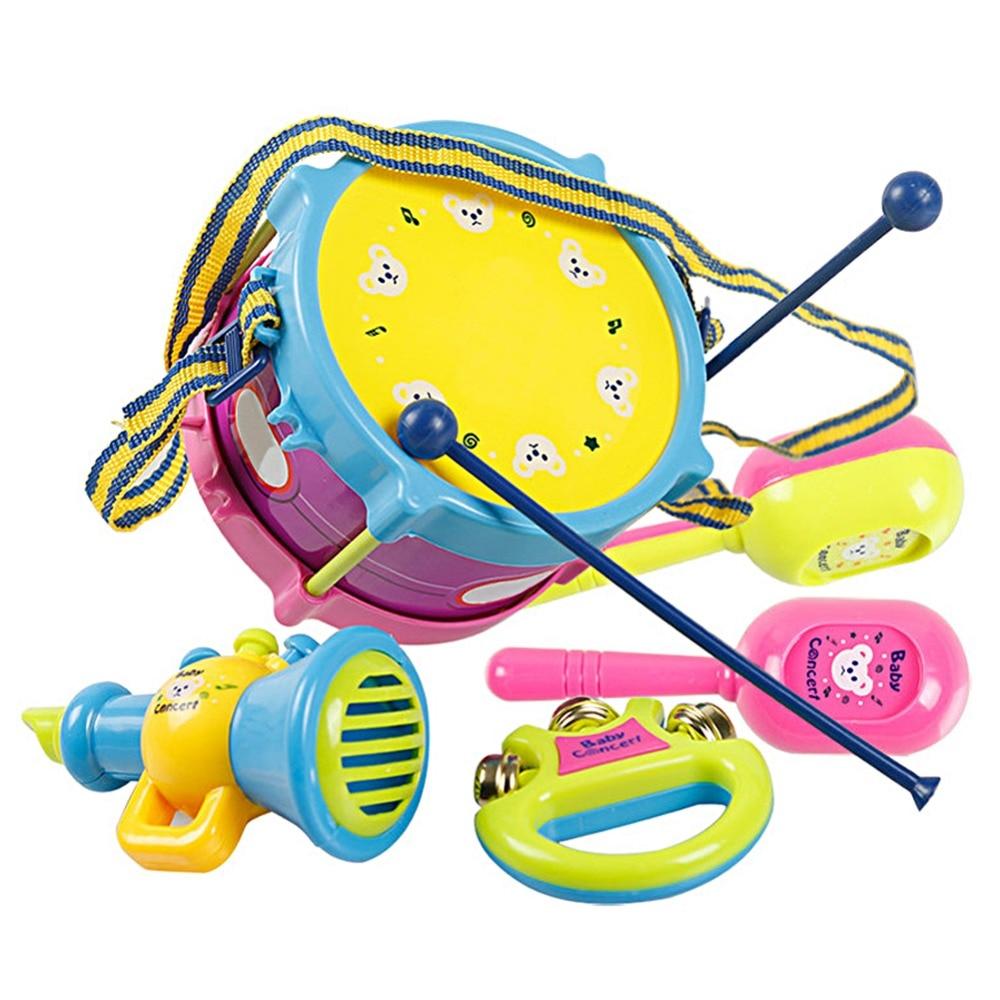 5 unids / set niños fabricante de ruido juguetes niños rollo tambor banda kit infantil desarrollo educativo de la sabiduría juguete bebé rollo tambor juego