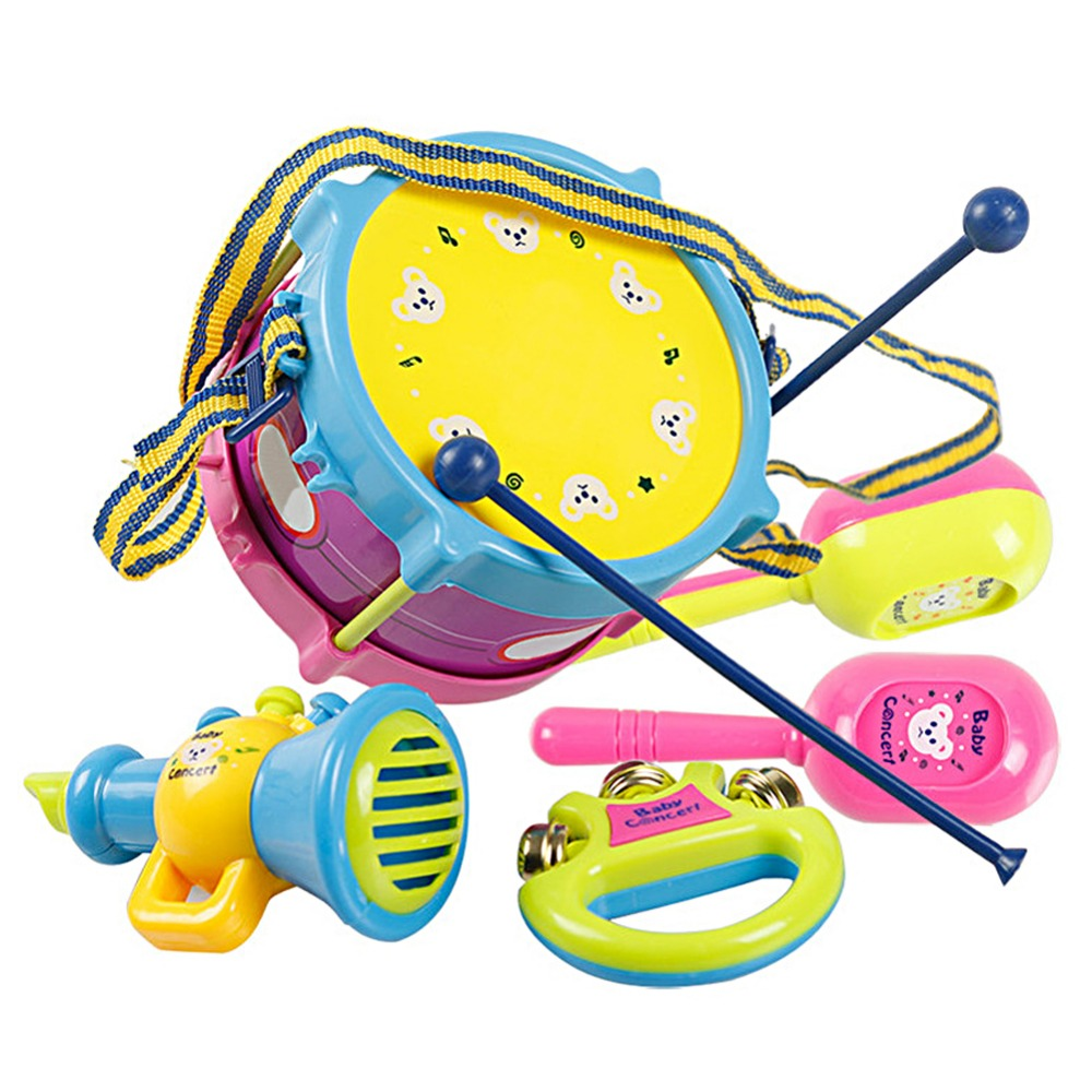 5pcs/Set Kids Roll Drum Band Kit Noise Maker Toys Children Handbell Trumpet Sand Hammer Musical Instruments Toys Educational Toy