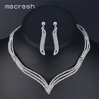 Simple Style Rhinestone Silver Plated Wedding Accessories Drop Earrings Necklace For Bridal Jewelry Sets TL296