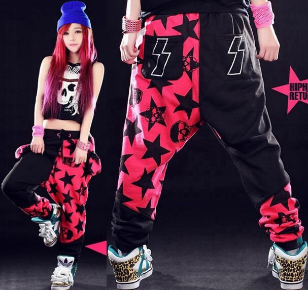 Best Version, Women's Star Printing Hip Hop pink Sweatpants Harem Dance Jogger Trousers Slacks Women Pants