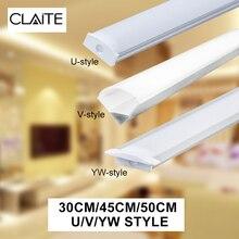 CLAITE U V YW, три стиля, 30 см, 45 см, 50 см, алюминиевый держатель для светодиодных лент, светильник под шкаф, кухонная лампа, ширина 1,8 см