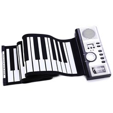 Portable 61 Keys Soft Electric Digital Roll-up Digital Organ Foldable Keyboard Piano White and Black Musical Instrument