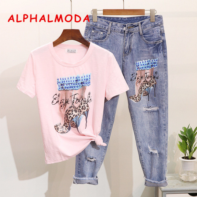 ALPHALMODA 2019 Spring Nail Pearl Sequin High-heeled Short-sleeved T-shirt Printed with Holes Pencil Jeans Selling Separately