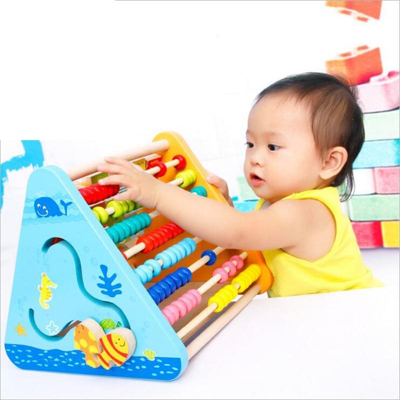 Jouets éducatifs en bois pour enfants multi-fonction de calcul à cinq côtés d'apprentissage Rack enfants mathématiques outil cognitif lettres couleur