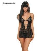Jocelyn Katrina Brand Sexy Lingerie Noble And Elegant Deep V Black Bud Silk Pajamas Open Fork