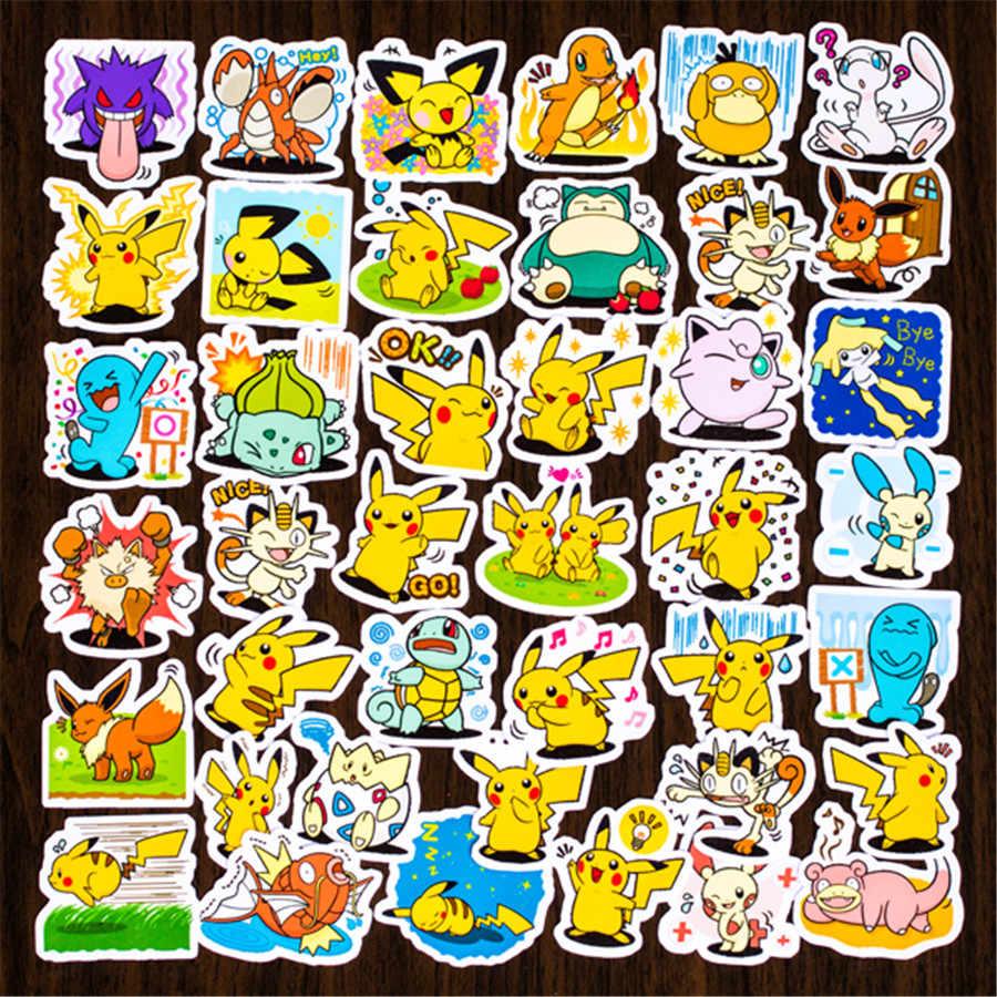 40 Uds. Pegatinas de Pikachu dibujos animados divertidos Anime DIY calcomanías para equipaje de ordenador portátil teléfono coche estilismo juguete de decoración para el hogar pegatina no repetir