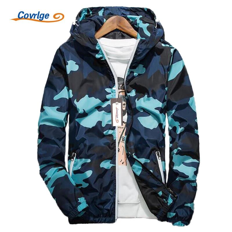 Covrlge Men Jacket Fashion 2019 Spring Men Brand Camouflage Jackets Casual Mens Coat Men's Hooded Luminous Zipper Coats MWJ011