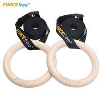 Forcefree+ Wood Gymnastic Rings Olympic Gym Rings w/ Straps Gym Equipment for Home Gym Train Workout Fitness Pull Ups and Dips
