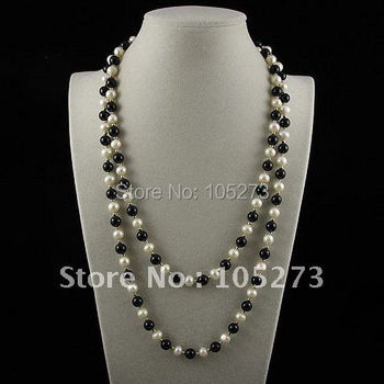 Charming!long pearl & Agates necklace 48''inchs AA 7-8MM White color Genuine freshwater pearl free shipping