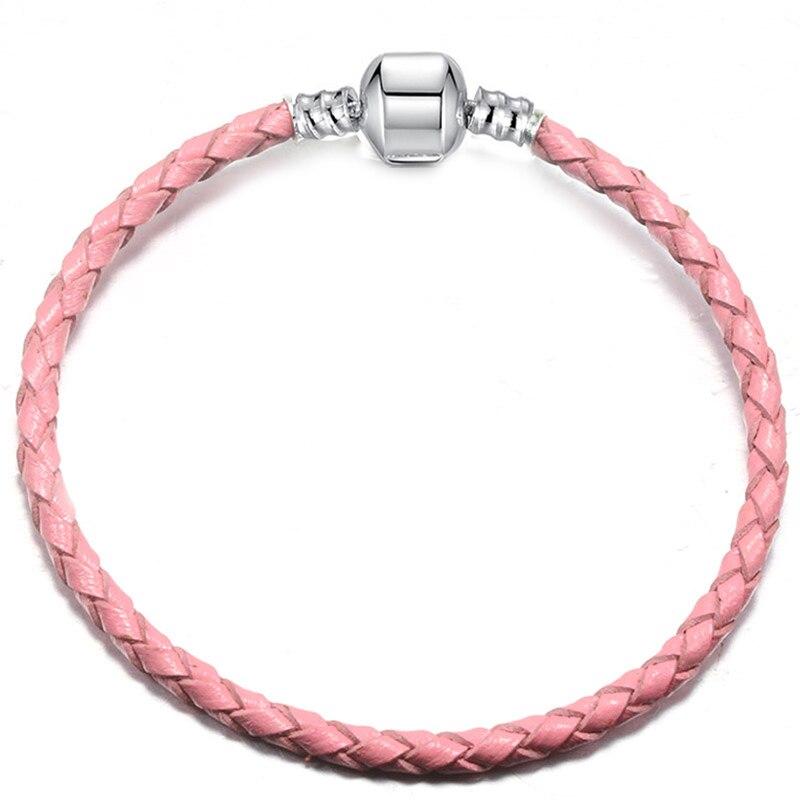 BAOPON, Прямая поставка, высокое качество, 9 цветов, кожаная цепочка, браслеты с подвесками, сделай сам, прекрасный браслет для женщин, девушек, ювелирное изделие, подарок - Окраска металла: Pink-1