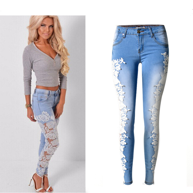 Women Fashion Jeans Denim Skinny Hollow Out Lace Stitching Mid-Waist Tights Sky Blue Pants Stretchable Full Length Sexy jeans