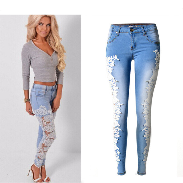 c695dfeaf5 Women Fashion Jeans Denim Skinny Hollow Out Lace Stitching Mid-Waist Tights  Sky Blue Pants Stretchable Full Length Sexy jeans
