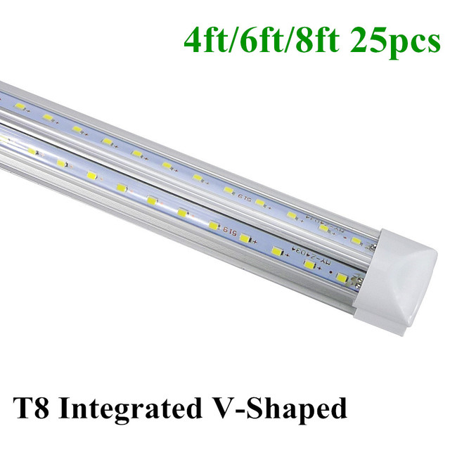 Led T8 Tubes Integrated V-Shaped Bulbs Tube 4ft 6ft 8ft Tubes Light 28w 42w 65w Warm/Cool White AC85-265V Super Bright Lamp