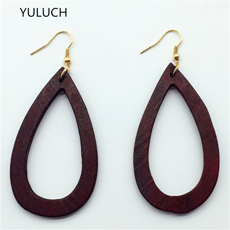 big round CROSS personality hollow latest african red wood earrings jewelry pair 2016 good quality new design