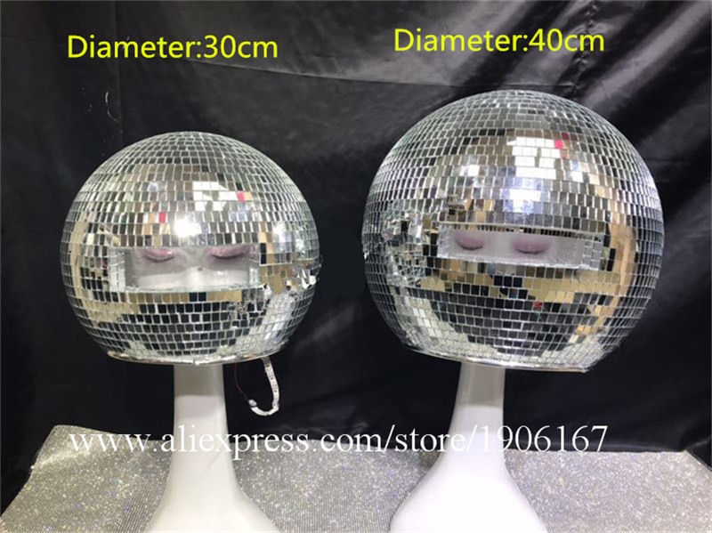 Ballroom dance costumes mirror men women singer stage show wears dj clothe Glass ball led helmet catwalk disco performance0