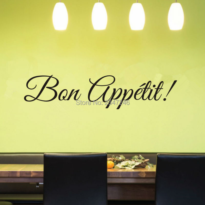 French Words Bon Appetit Wall Decal Kitchen Vinyl Wall Stickers Dining Room  Removable Wall Decor For