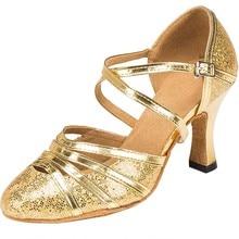 Elegantní dámské boty na podpatku ve zlaté barvě