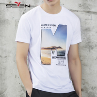 Seven7 Brand Summer Men Cotton T Shirts Fashion Printing Pattern Simple T Shirts Short Sleeve O