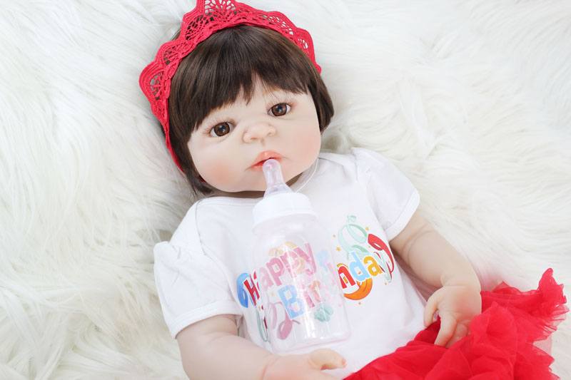 55cm Full Silicone Bebe Reborn Doll Toy Realistic 22'' Vinyl Newborn Princess Babies Girl Bonecas Like Alive Baby Bathe Toy