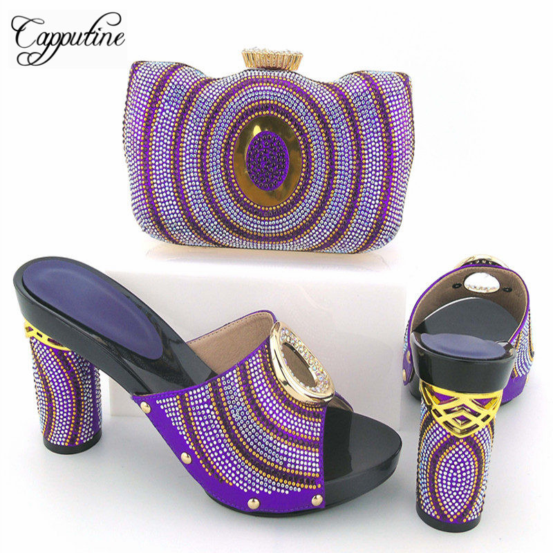 Capputine New Elegant Rhinestone Wedding Shoes And Bag Set African Style High Heels Slipper Shoes And Bag Set For Fashion Dress 1 design laser cut white elegant pattern west cowboy style vintage wedding invitations card kit blank paper printing invitation