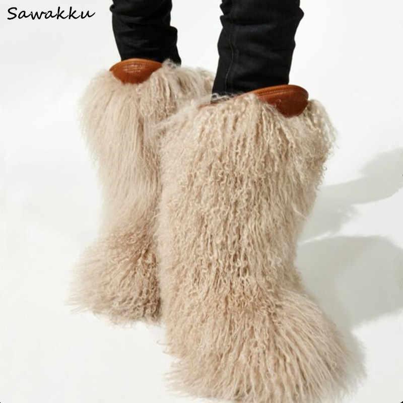 NUEVA peludas de pisos de la nieve de la pantorrilla botas