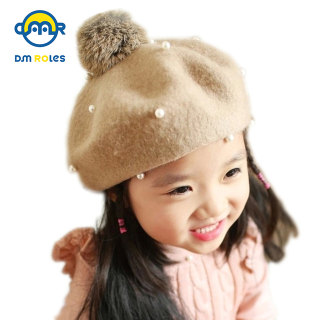 e2cb5cf22d7 Wool Pearl Baby Beret Baby Hat Cap For Girls Cap For Children Winter Hat Kid  Beanies Baby Accessories Drop Shipping