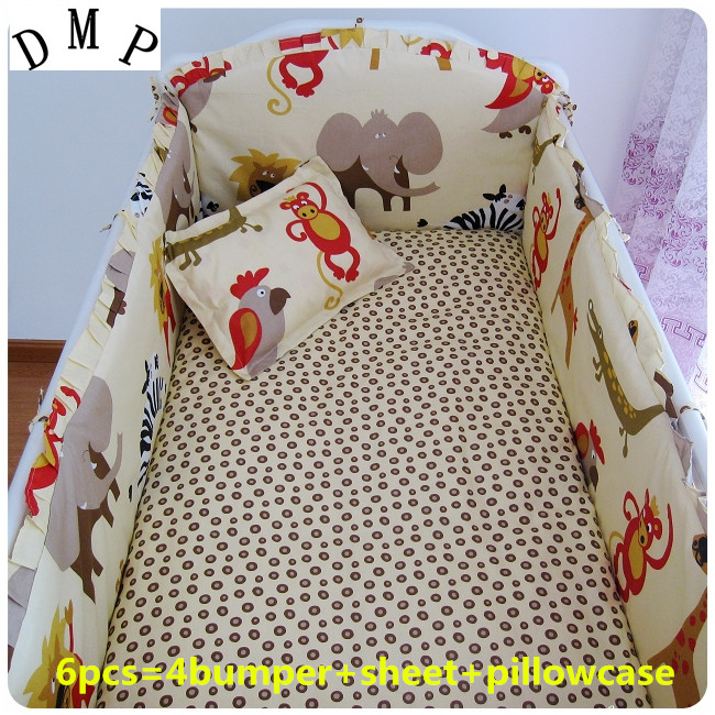Promotion! 6PCS Crib Bedding Set Cotton Printed Baby Bedding (bumpers+sheet+pillow cover)