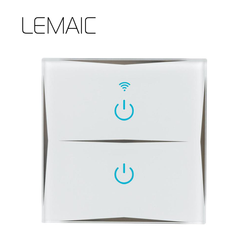 LEMAIC Remote Control Switch 2 Gang 1 Way UK EU Smart Wall Touch Switch+LED Indicator Crystal Glass Switch Panel Smart Home uk standard remote touch switch black crystal glass panel 3 gang 1 way remote control wall switch with led indicator