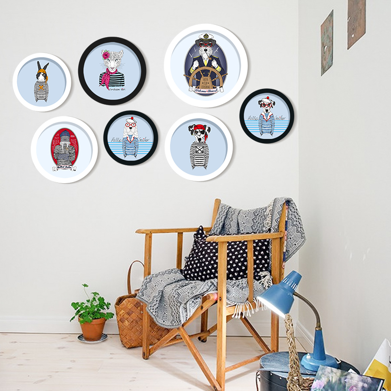 DIY Creative Gift Round Photo Frame sofa background cartoon animals Hanging Wall Picture Living Room Home Decor birthday gift